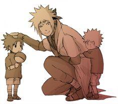 Minato with little Naruto and Sasuke