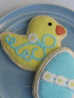 Felt Sugar Cookies Yellow Spring Duck And Blue by ViviansKitchen, $28.00