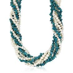 """Turquoise and Pearl Torsade Necklace in Sterling Silver. 17"""""""