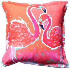 Biscayne Bay Flamingos Indoor Outdoor Pillow: Beach Decor, Coastal Decor, Nautical Decor, Tropical Decor, Luxury Beach Cottage Decor