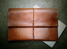 Large Document Case Folio Briefcase Alternative or Laptop Bag. Handmade in the Leather Craft, Leather Bag, Brown Leather, Macbook Sleeve, Macbook Pro, Fountain Pen Ink, Computer Bags, Leather Projects, Leather Working
