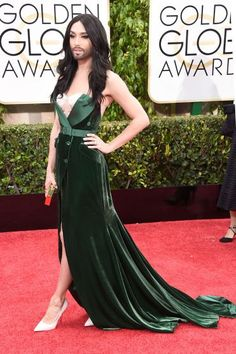 Conchita Wurst attends the 72nd Annual Golden Globe Awards at The Beverly Hilton Hotel on Jan. 11, 2015 in Beverly Hills, Calif.