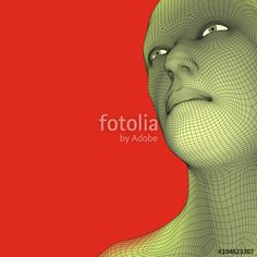 Vektor: Head of the Person from a 3d Grid. Human Head Wire Model. Human Polygon Head. Face Scanning. View of Human Head. 3D Geometric Face Design. 3d Polygonal Covering Skin. Geometry Polygon Man Portrait.