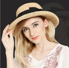 Handmade raffia sun hat with two bow crimping design for lady