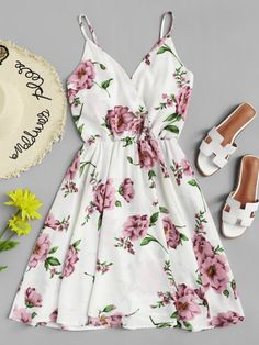 Shop Flowers Print Cami Dress at ROMWE, discover more fashion styles online. Trendy Dresses, Cute Dresses, Beautiful Dresses, Casual Dresses, Short Dresses, Floral Dresses, Maxi Dresses, Cute Casual Outfits, Cute Summer Outfits