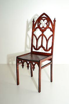 chair for Dolls 1:6 furniture Barbie FR wooden handwork Gothic style HIT NEW
