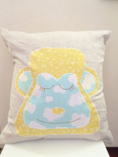 Blue and yellow monkey applique decorative throw by chubbyABC