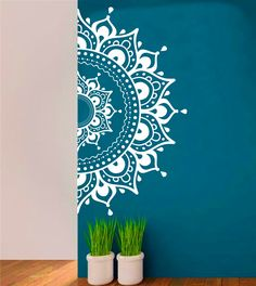 Mandala Wall Decal Aufkleber halbe MandalaYoga Om Namaste Yoga Dekor Wandtattoo Lotus Interior Home Decor Meditation Mandala Wand Kunst Wand - Wandkunst Mandala Design, Mandala Art, Lotus Mandala, Mandala On Wall, Easy Mandala, Mandala Meditation, Wall Art Designs, Paint Designs, Design Art