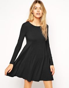 ASOS Seamed Swing Dress with Long Sleeves