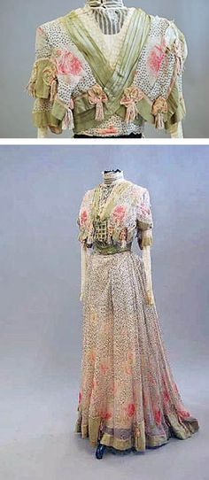 Floral and dotted printed chiffon with green silk trim, ca. 1908-15. Kerry Taylor Auctions/Live Auctioneers/Invaluable