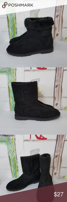 """Black Mid Calf Pull On Boots With Faux Fur 8.5 MAKALU California Size 8.5M """"Ani"""" Women's Brown Mid Calf Pull On Boots With Faux Fur in excellent condition. MAKALU California Shoes Ankle Boots & Booties"""