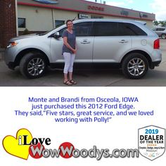 Congratulations to Monte and Brandi on their purchase of this 2012 Ford Edge! 🎉 #wow #wowwoodys #woodysautomotive #cars #trucks #suvs #carsforsale #trucksforsale #suvsforsale #kansascity #chillicothe #customerreviews #customertestimonials #wowcarbuying #carshopping #happycustomers #2012fordedge #fordedge #ford #edge