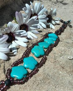 Turquoise flower bracelet by Jewelrymadebynature on Etsy