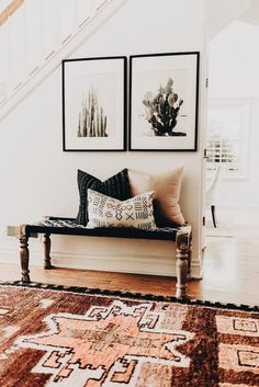 Tour a Space that Blends Bohemian Details with a Modern Farmhouse, Home Decor, Modern Southwestern Decor in an entryway featuring a large area rug and framed cactus prints - Southwest Decor & Decorating Ideas. Bohemian Style Home, Bohemian Living, Bohemian Beach, Bohemian Chic Decor, Bohemian Office, Bohemian Interior, Bohemian Fashion, Coastal Style, Boho Hippie