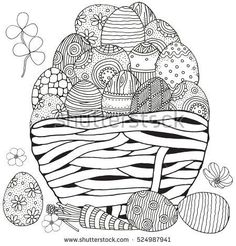 Basket with Easter eggs on white background. Hand-drawn, doodle, zentangle, Easter design elements. Black and white. Coloring book page for adult