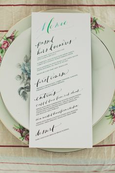 hand drawn wedding menu by paperfinger See more of this rustic Brooklyn wedding venue here http://www.weddingchicks.com/2013/09/10/rustic-urban-wedding/