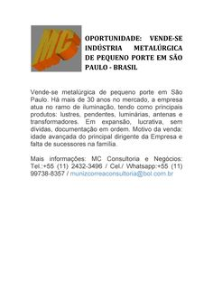 VENDE-SE INDÚSTRIA METALÚRGICA DE PEQUENO PORTE EM SÃO PAULO - BRASIL