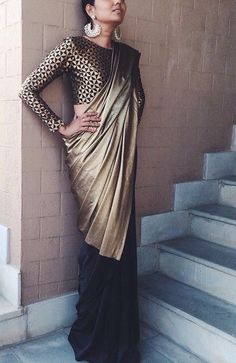Black and gold sari India Fashion, Asian Fashion, Look Fashion, Indian Look, Indian Ethnic Wear, Indian Attire, Indian Outfits, Anarkali, Lehenga Choli
