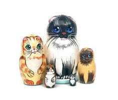 Nesting dolls for kids Cats wooden toy Developing toy | Etsy Wooden Toys For Toddlers, Toddler Toys, Cat Lover Gifts, Cat Lovers, Different Types Of Cats, Big Blue Eyes, Handmade Wooden Toys, Montessori Toys, Siamese Cats