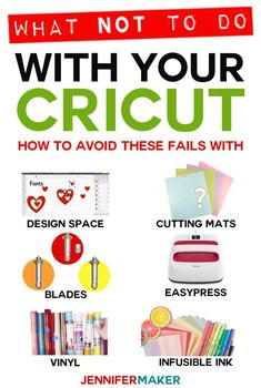 Cricut Tips: What NOT to do for successful projects in Design Space with cutting mats blades vinyl Infusible Ink and the EasyPress! Cricut Mat, Cricut Craft Room, Cricut Vinyl, Cricut Cuttlebug, Cricut Cartridges, Cricut Ideas, Cricut Tutorials, Cricut Project Ideas, How To Use Cricut