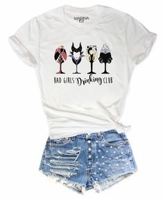 White shirt,Disney Villians Decal,Ripped jorts/w/Beads. Disney Villain Shirt, Disney Villains, Disney Shirts, Disney Princess Shirts, Cute Disney Outfits, Cute Outfits, Disney Clothes, Emo Outfits, Drinking Shirts