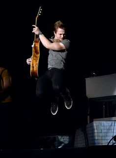 Hunter Hayes flies high during a performance at the 2014 Stagecoach Country Music Festival on April 26 in Indio, Calif.