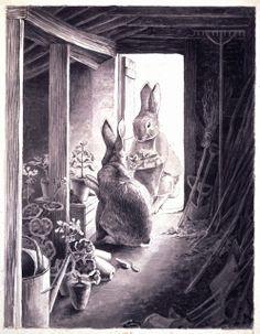 Beatrix Potter, The Rabbits' potting shed, 1891