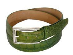 Calfskin woman's belt with crocodile print PECOB52