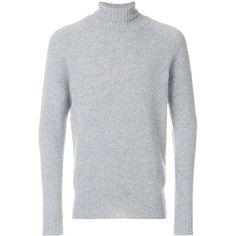 Drumohr turtleneck jumper (4,360 MXN) ❤ liked on Polyvore featuring men's fashion, men's clothing, men's sweaters, grey, mens turtleneck sweater, mens grey sweater, mens gray sweater, mens gray turtleneck sweater and mens grey turtleneck sweater
