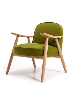 804 Basic armchair . Armchair with wooden frame, back made of wood board, and seat either of wood board or upholstered.