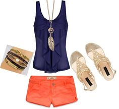 """cute summer outfit"" on Polyvore  Navy and coral, my fave this summer."
