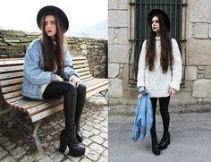 A Fabrica Dos Chapeus Hat, Levi's Denim Jacket, Oversized Sweater, Zara Leather Look Leggings, Jeffrey Campbell Mulder
