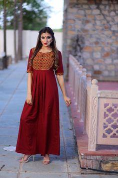 Red anarkali dress