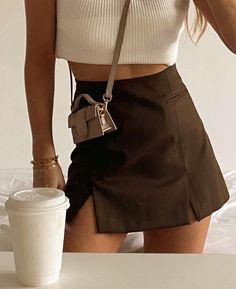 Suit Fashion, 90s Fashion, Photo Bag, Brown Aesthetic, Minimal Chic, Parisian, Short Dresses, Mini Skirts, My Style