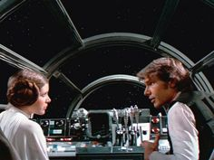 Han and Leia in the Millennium Falcon