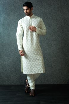 Chanderi silk kurta embellished with resham work from #Benzer #Benzerworld #menswear #indowesternwear