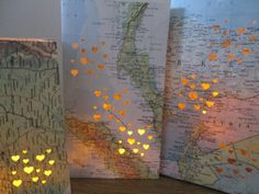 5 Small Map Luminary BagsTravel Decor Made to by Oldendesigns, $50.00