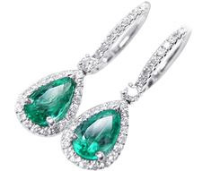 Emerald pear shaped dangle earrings