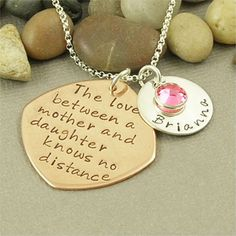 Personalized Hand Stamped Mother & Daughter Necklace by BaWStampedDesigns