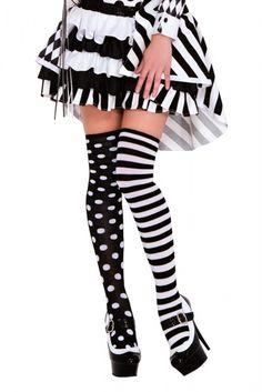 1d51ced934bec FaeryNiceThings : Polka Dot and Striped Thigh High 4604 Thigh High Socks,  Knee Socks,