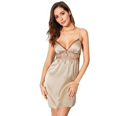 Champagne Floral Lace Mesh Insert Satin babydoll Item Type: Nightgowns Material: Polyester,Cotton Dresses Length: Above Knee, Mini Decoration: Lace Sexy Night Dress, Night Dress For Women, Night Gown, Satin Cami, Cotton Dresses, Floral Lace, Sexy Women, Female, Formal Dresses