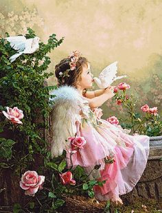 ☫ ^i^ Ꭿɲɠҽℓʂ ^i^ ☫ ~ Child Angel with pink roses and white doves. Angel Images, Angel Pictures, Beautiful Angels Pictures, Angel Kisses, I Believe In Angels, Angels Among Us, Angels In Heaven, Heavenly Angels, White Doves
