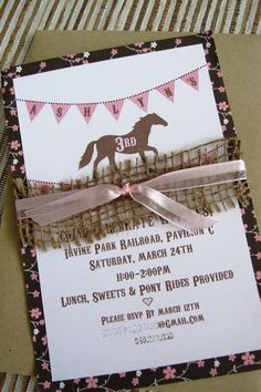 Girl's Shabby Chic Pony Birthday Party Invitations by Shanzusc, $37.50: