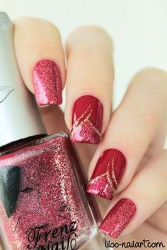 New French Manicure Christmas Nails Ideas Red Nail Art, Red Nails, Glitter Nails, Hair And Nails, Red Glitter, Pastel Nails, Bling Nails, Fabulous Nails, Gorgeous Nails