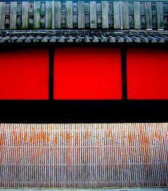 The red wall of Ichiriki at Gion, Kyoto, Japan