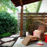 Privacy Fencing Ideas Used to Traditional Patio with Wicker Furniture