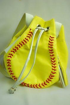 Large Drawstring Shoulder Bag--quite cute! Softball Bags, Girls Softball, Softball Players, Softball Stuff, Throw Like A Girl, Girls Be Like, Baseball Crafts, Baseball Mom, Softball Phone Cases