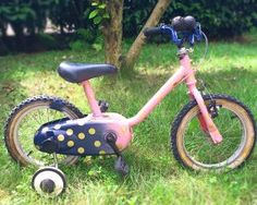 DIY vélo rose et bleu à pois doré