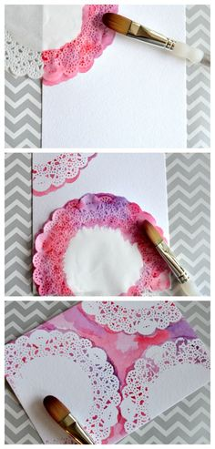 Guide to using paper doilies in a wedding - Best Art Projects 🎨 Doilies Crafts, Paper Doilies, Diy And Crafts, Arts And Crafts, Paper Crafts, Watercolor Cards, Watercolor Design, Easy Watercolor, Watercolour Tutorials
