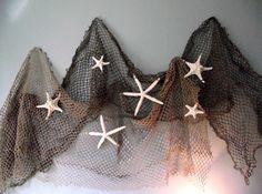 Coastal, beach, nautical home decor, starfish wedding decor, seashell, beach wedding decor, authentic fishing net and star fish on Etsy, $26.95